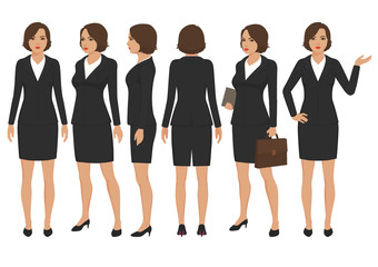 vector illustration of  secretary woman cartoon character, front, back and side view of businesswoman