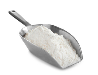 Scoop with flour on white background