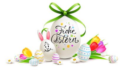 Ostereier bunt bemalt mit Kalligraphie, Osterhasen Ei und Blumen