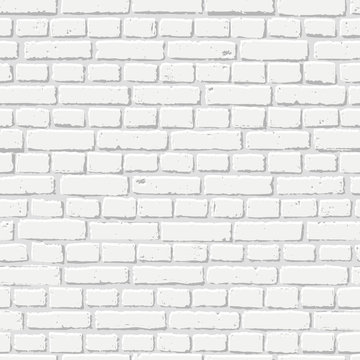 Vector white brick wall seamless texture. Abstract architecture and loft interior, background