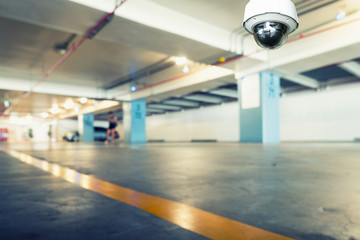 CCTV security camera observation and monitoring in the car parking