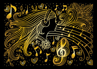 Doodle of Woman with music background.