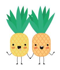 pineapple fresh fruit couple kawaii characters vector illustration design