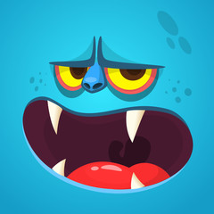 Cartoon monster face. Vector Halloween blue monster avatar with open mouth with sharp teeth