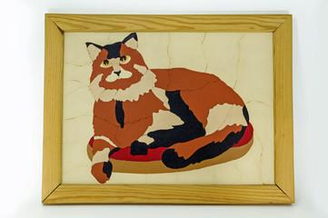 Картинка в рамке. Серьёзный кот.