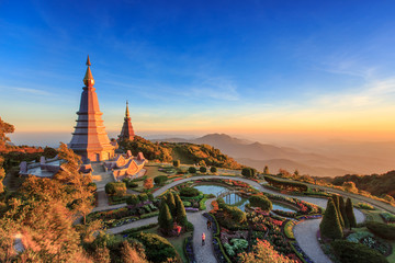 Landscape of two big pagoda on the top of Doi Inthanon mountain, Chiang Mai, Thailand.