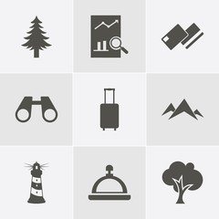 icon set about Travelling with christmas tree, credit card, binoculars , hotel call, lighthouse , suitcase , map and tree