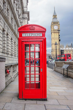 Big ben and red phone cabin in London