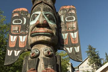 Totem pole along Ketchikan Creek;  Ketchikan, Alaska