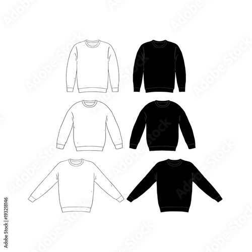Hand Drawn Vector Illustration Of Blank T Shirt Long Sleeve Set On White Background