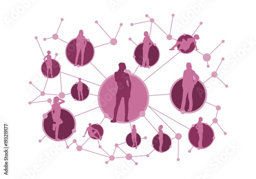 Women Social Media Network Growth Background With Lines Circles