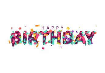 Happy Birthday greeting card. Design letter modern style papercut multi color layers