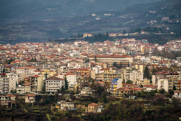 Aerial View of Edessa city, Greece, Europe