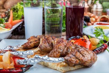 Lamb chops in fine dining restaurant
