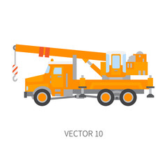 Color plain vector icon construction machinery truck auto crane. Industrial style. Corporate cargo delivery lift. Commercial transportation. Building business. Engineering. Diesel. Illustration design