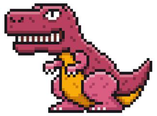 Vector illustration of Cartoon Dinosaur - Pixel design