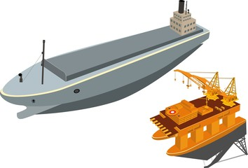 Oil platform and ship tanker sea, vector 3d isometric concept illustration, isolated on white background.