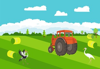 Tractor on the green field, agriculture, farm, countryside theme, outdoor nature illustration.