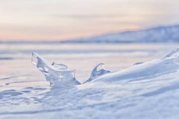 Icicle. Ice of Lake Baikal
