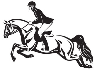 Horse and rider jumping over a fence.Equestrian stadium showjumping .Black and white side view isolated vector illustration. Logo design