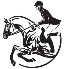equestrian sport . Horse show jumping emblem, logo, icon. Black and white vector