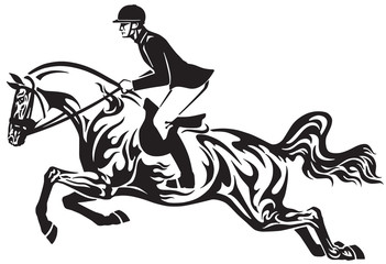 Horse show jumping . Equestrian sport competition . Horseman rider controls a horse jumping over an obstacle . Black and white side view vector illustration in the tribal tattoo style