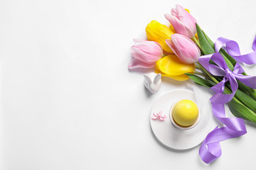 Beautiful festive Easter table setting on white background