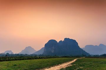 Mountain rural green field Vang Vieng Laos