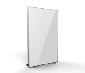 Double side advertising light box reinforced frame less lighted sign box. 3d render illustration.