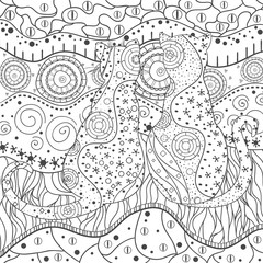 Cats. Zentangle. Hand drawn mandala with abstract patterns on isolation background. Design for spiritual relaxation for adults. Black and white illustration for coloring. Zen cat. Outline for t-shirts