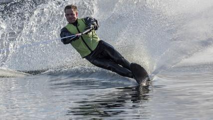 Slalom Skier in Drysuit