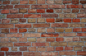 Aged brick wall background. Copy space