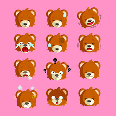 Cute bear head with 12 expressions