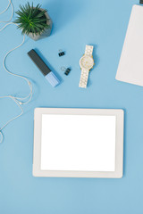 Office workspace. Office table white tablet blank screen. Flat lay