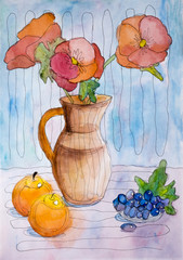 "Children's watercolor painting ""Still-life with flowers and fruits"""