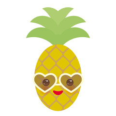 cute funny kawaii exotic fruit pineapple with sunglasses on white background. Hot summer day, pastel colors card design, banner template. Vector