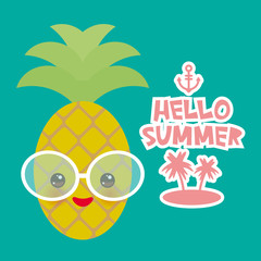 Hello Summer cute funny kawaii exotic fruit pineapple with sunglasses. Hot summer day, pastel colors card design, banner template on blue background. Vector