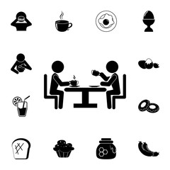 two at a table drinking coffee icon. Breakfast Icon. Premium quality graphic design. Signs, symbols collection, simple icon for websites, web design, mobile app on white background