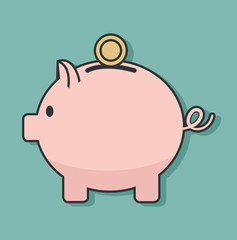 flat minimal Piggy Bank with coins