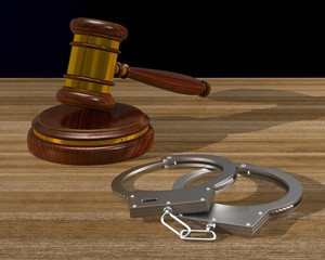 wooden gavel and handcuffs on table. 3D illustration