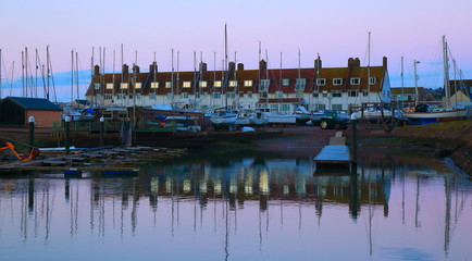 Seaton harbour in Devon at dawn. River Axe estuary on the Jurassic Coast.