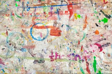 絵具で汚れた床