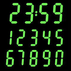 Green digital numbers on black background. Time indication