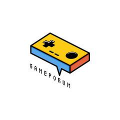 video game joystick console theme logo template