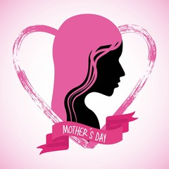 mothers day profile woman pink hair grunge heart vector illustration