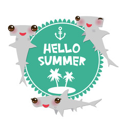 Hello Summer Cartoon gray Smooth hammerhead Winghead shark Kawaii with pink cheeks and winking eyes smiling. Round card design, banner template on blue white background. Vector