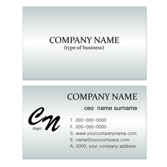 A stylish business card on a metal background./ Vector business card design./ Clean design.