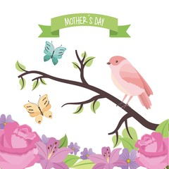cute bird butterflies in branch flowers decoration mothers day vector illustration