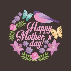 happy mothers day romantic cute flowers bird butterfly black background vector illustration