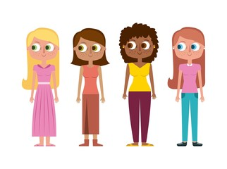 set of cartoon woman mothers character vector illustration
